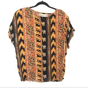 Vintage Boho Patterned Rayon Top Fitted Image